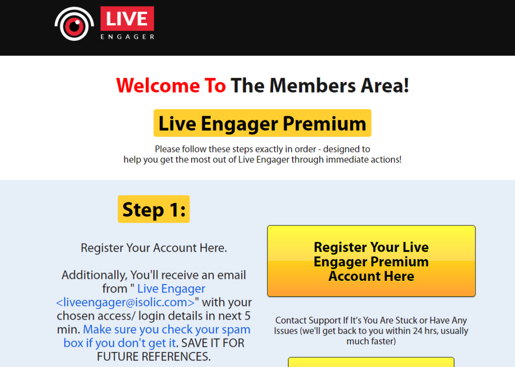 live engager members area